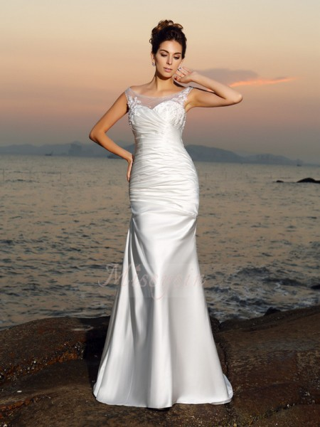 Trumpet/Mermaid Sleeveless Scoop Sweep/Brush Train Ivory Wedding Dress