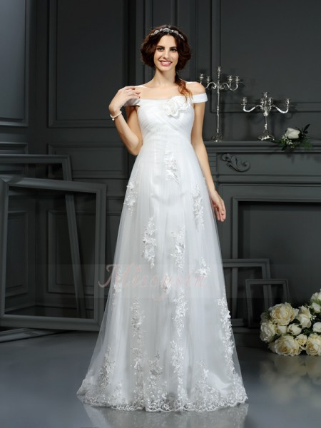 A-Line/Princess Sleeveless Off-the-Shoulder Court Train Ivory Wedding Dress