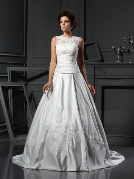 A-Line/Princess Sleeveless High Neck Chapel Train Ivory Wedding Dress