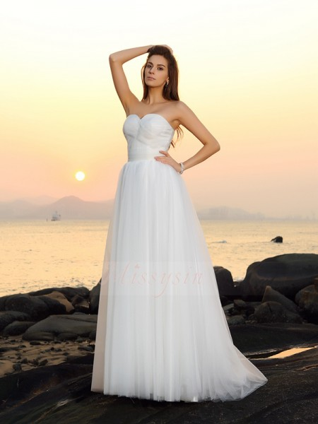 A-Line/Princess Sleeveless Sweetheart Sweep/Brush Train White Wedding Dress