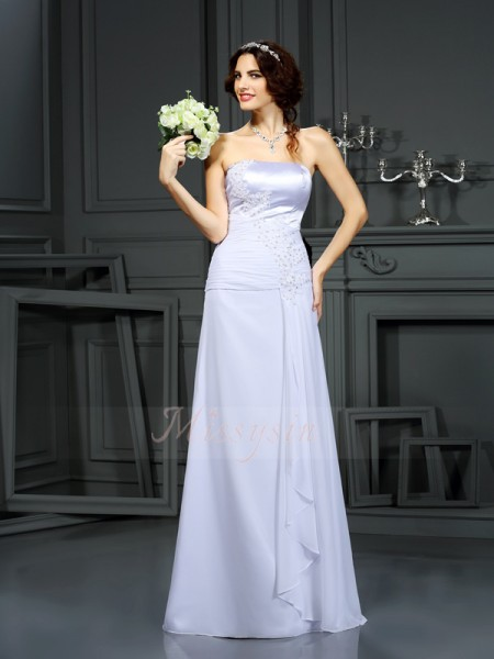 Sheath/Column Sleeveless Strapless Sweep/Brush Train White Wedding Dress