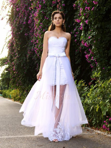 Trumpet/Mermaid Sleeveless Sweetheart Long White Wedding Dress