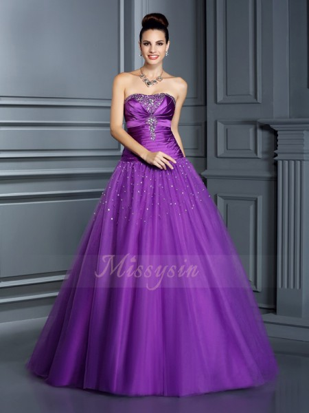 Ball Gown Sleeveless Strapless Long Regency Dress