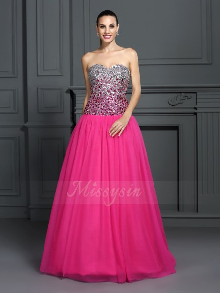 Ball Gown Sleeveless Sweetheart Long Pink Dress