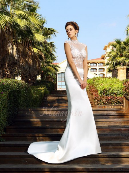 Trumpet/Mermaid Sleeveless High Neck Court Train Ivory Dress