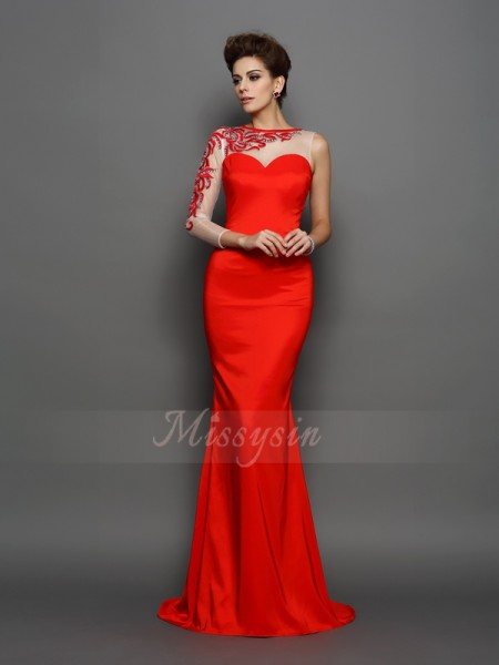 Trumpet/Mermaid Long Sleeves High Neck Court Train Red Dress