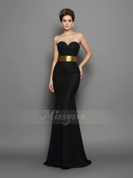 Trumpet/Mermaid Sleeveless Sweetheart Court Train Black Dress