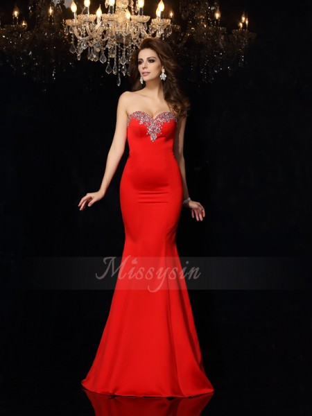Sheath/Column Sleeveless Sweetheart Court Train Red Dress