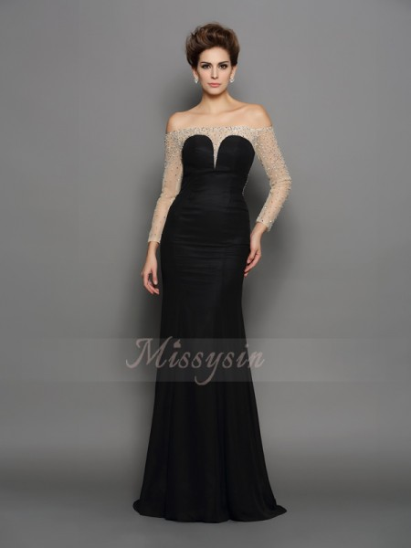 Trumpet/Mermaid Long Sleeves Off-the-Shoulder Sweep/Brush Train Black Dress