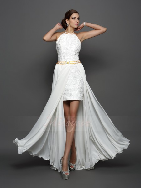 A-Line/Princess Sleeveless High Neck Chapel Train White Wedding Dress