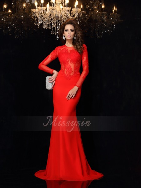 Sheath/Column Long Sleeves Scoop Court Train Red Dress