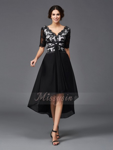 A-Line/Princess 1/2 Sleeves V-neck Asymmetrical Black Dresses