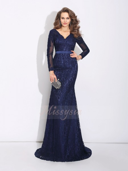Sheath/Column Long Sleeves V-neck Sweep/Brush Train Dark Navy Dresses