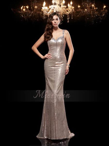 Sheath/Column Sleeveless Straps Sweep/Brush Train Silver dresses