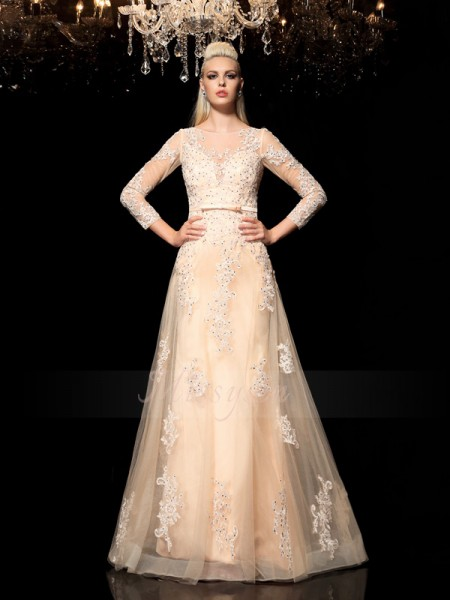 A-Line/Princess Long Sleeves Sheer Neck Long Champagne Dresses