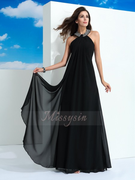 A-Line/Princess Sleeveless Halter Long Black Dresses