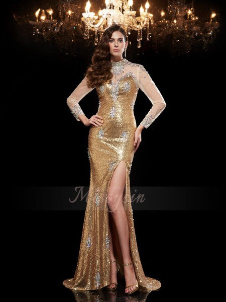 Trumpet/Mermaid 3/4 Sleeves High Neck Sweep/Brush Train Gold dresses