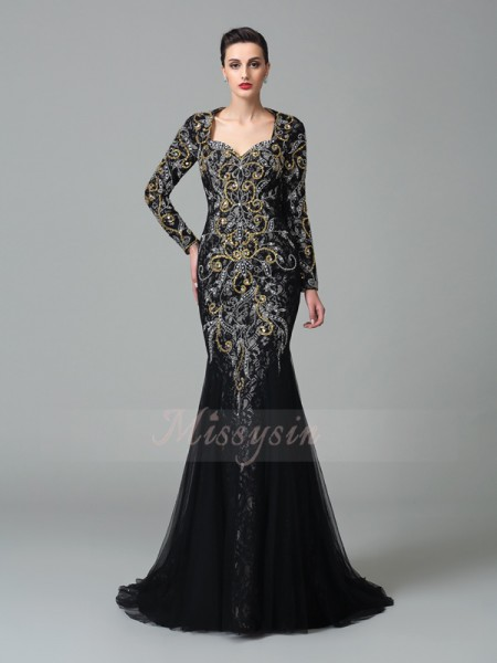 Trumpet/Mermaid Long Sleeves Sweetheart Sweep/Brush Train Black Dresses