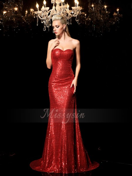Sheath/Column Sleeveless Sweetheart Sweep/Brush Train Red Dresses
