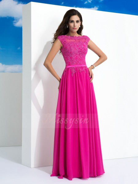 A-Line/Princess Sleeveless Sheer Neck Long Fuchsia Dresses