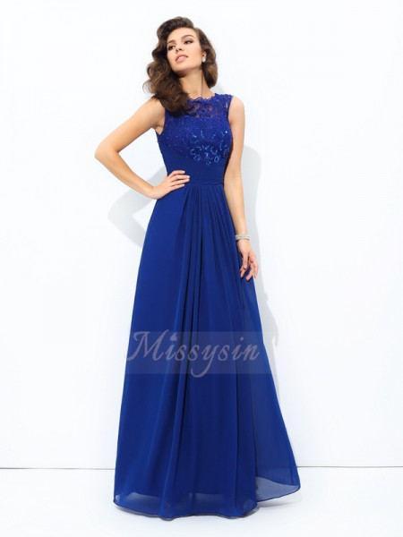 A-line/Princess Sleeveless Scoop Long Royal Blue Dresses