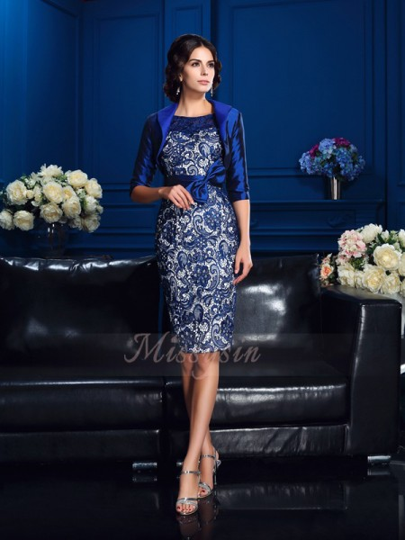 Sheath/Column 1/2 Sleeves Scoop Short Royal Blue Mother of the Bride Dresses