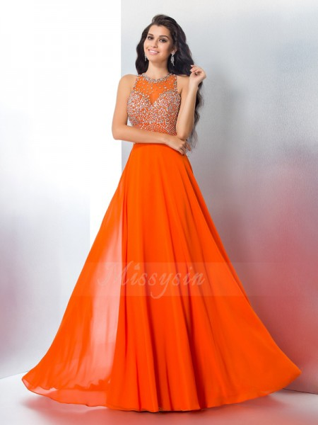 Trumpet/Mermaid Sleeveless Scoop Sweep/Brush Train Orange Dresses