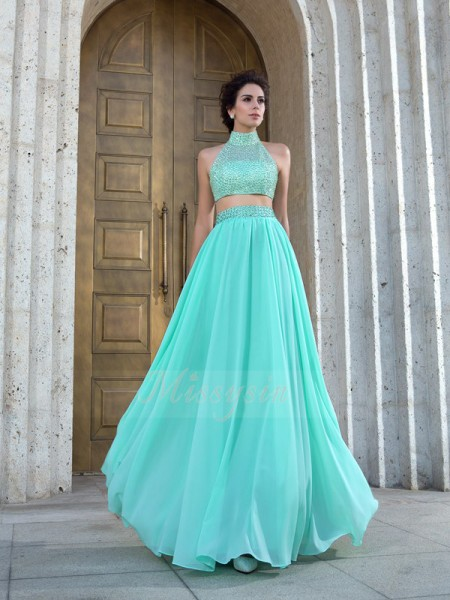 A-Line/Princess Sleeveless High Neck Long Green Dresses