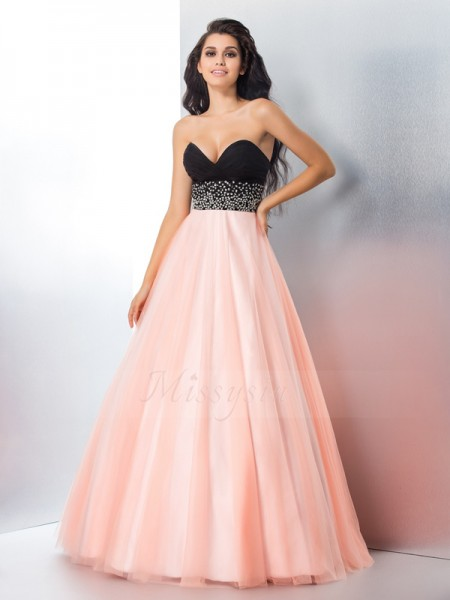 Ball Gown Sleeveless Sweetheart Long Pink Dresses