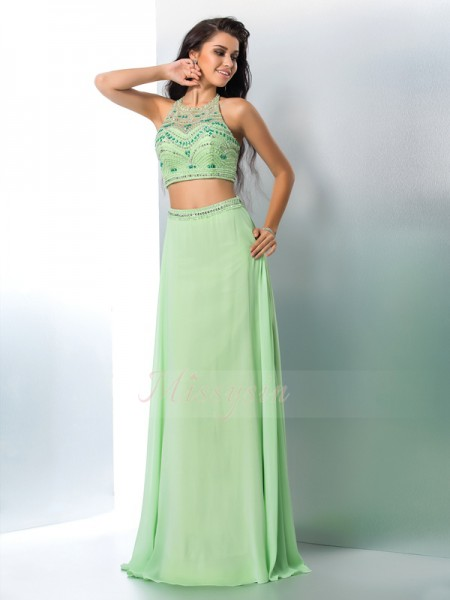A-Line/Princess Sleeveless Halter Long Sage Dresses