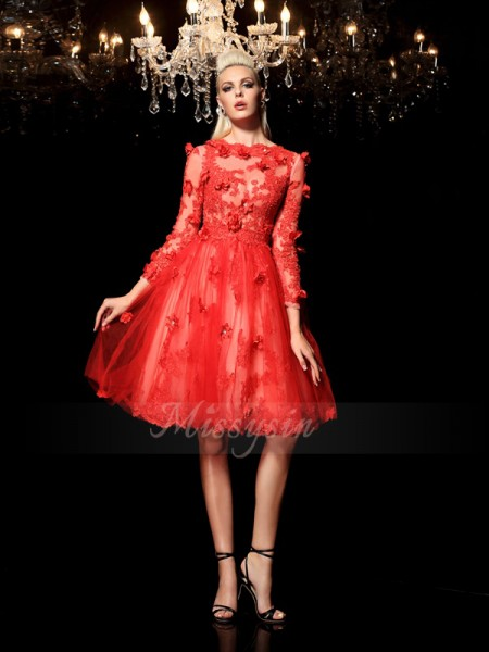 A-Line/Princess 3/4 Sleeves Sheer Neck Short Red Dresses