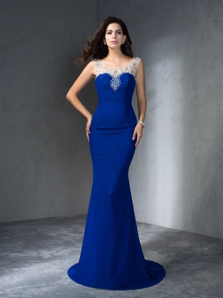 Trumpet/Mermaid Sleeveless Scoop Sweep/Brush Train Royal Blue Dresses