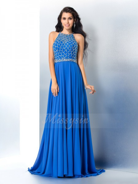 A-Line/Princess Sleeveless Scoop Sweep/Brush Train Royal Blue Dresses