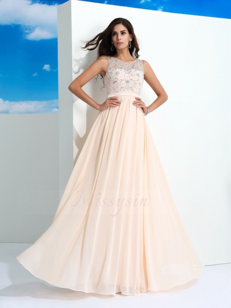 A-Line/Princess Sleeveless Sheer Neck Long Pearl Pink dresses