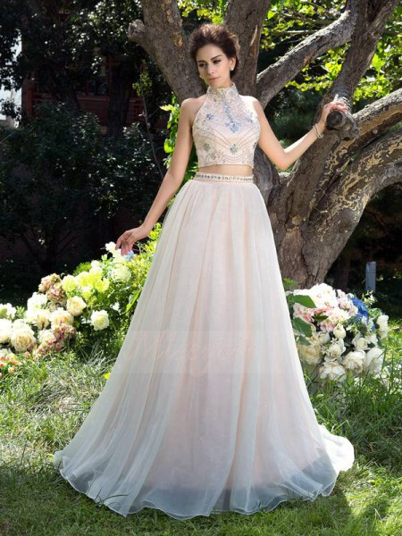 A-Line/Princess Sleeveless High Neck Sweep/Brush Train Champagne Dresses