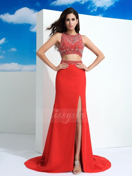 Sheath/Column Sleeveless Scoop Court Train Red dresses