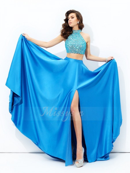 A-line/Princess Sleeveless High Neck Court Train Royal Blue Dresses