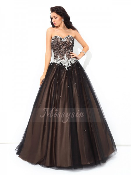 Ball Gown Sleeveless Sweetheart Long Black Quinceanera Dresses
