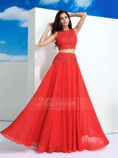 A-Line/Princess Sleeveless Scoop Long Red dresses