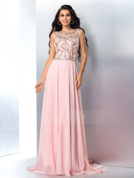 A-Line/Princess Sleeveless Scoop Sweep/Brush Train Pink Dresses