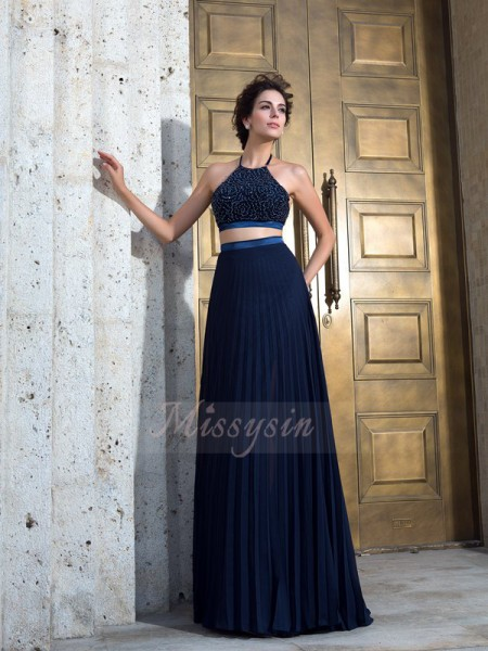 A-Line/Princess Sleeveless Spaghetti Straps Sweep/Brush Train Dark Navy Dresses