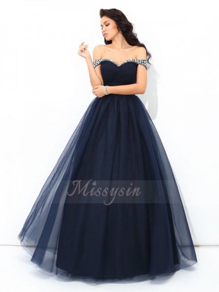 Ball Gown Sleeveless Off-the-Shoulder Long Dark Navy Quinceanera Dresses