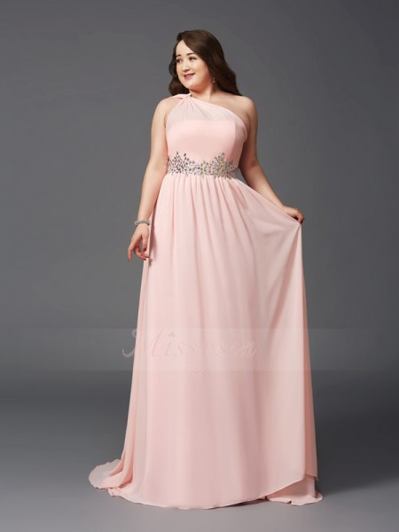 A-Line/Princess Sleeveless One-Shoulder Sweep/Brush Train Pink Dresses