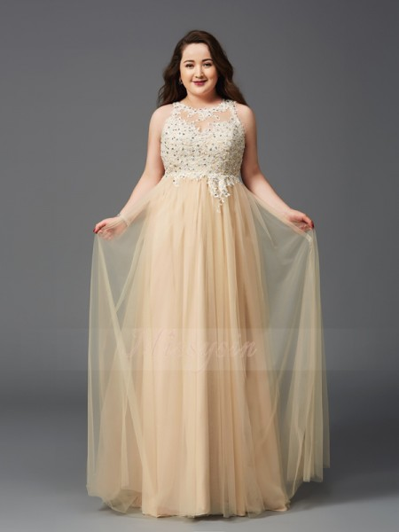 A-Line/Princess Sleeveless Scoop Long Champagne Dresses