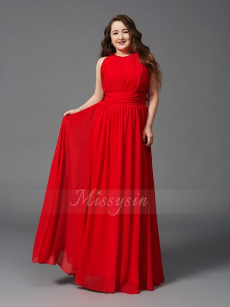 A-Line/Princess Sleeveless Jewel Long Red Dresses