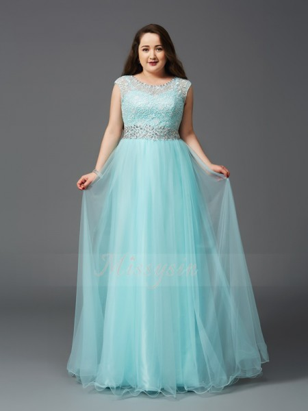 A-Line/Princess Sleeveless Scoop Long Light Sky Blue  Dresses