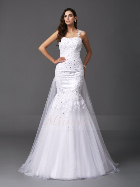 Trumpet/Mermaid Sleeveless Straps Sweep/Brush Train White Wedding Dresses
