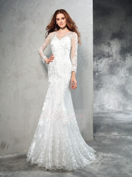 Sheath/Column Long Sleeves Sheer Neck Sweep/Brush Train Ivory Wedding Dresses