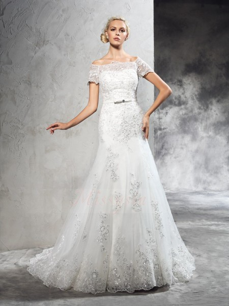 Sheath/Column Short Sleeves Off-the-Shoulder Court Train Ivory Wedding Dresses