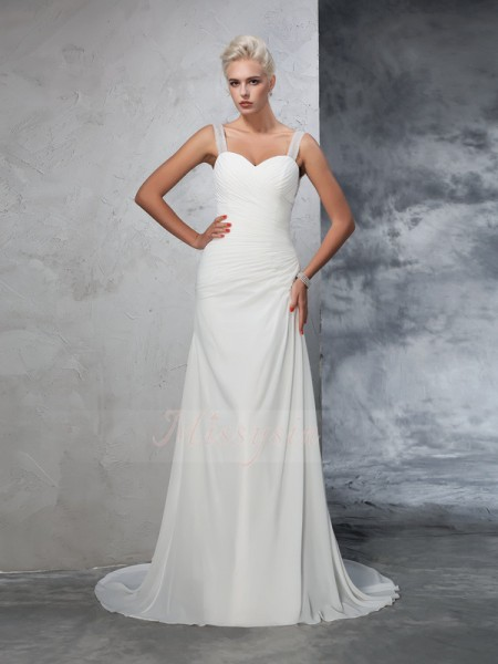 Trumpet/Mermaid Sleeveless Straps Court Train Ivory Wedding Dresses